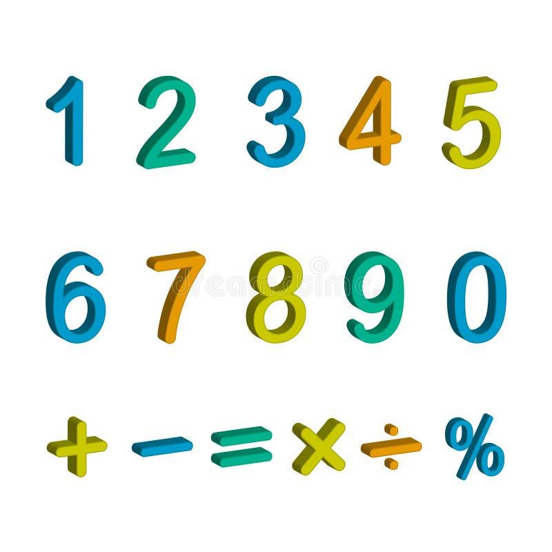 数字和算术标志的例证 库存例证