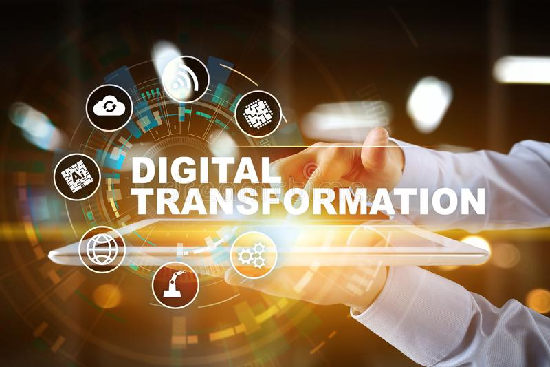 数字商业运作的数字化的变革、概念和现代技术 免版税图库摄影