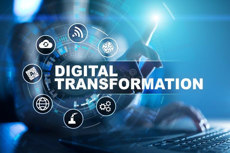 数字商业运作的数字化的变革、概念和现代技术 免版税库存图片