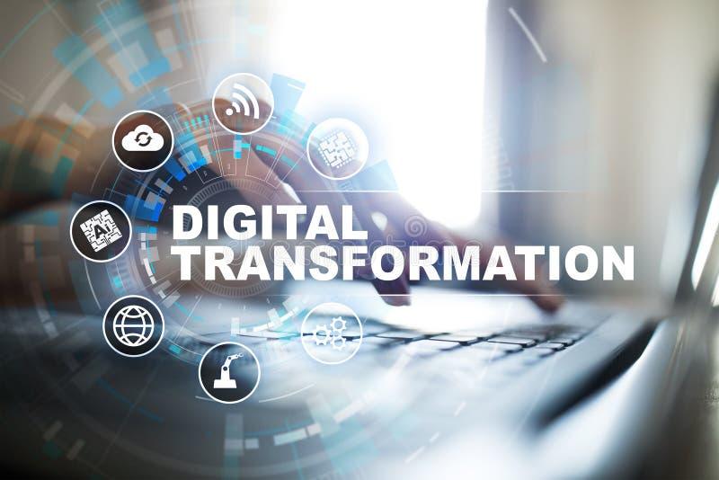 数字商业运作的数字化的变革、概念和现代技术 库存照片