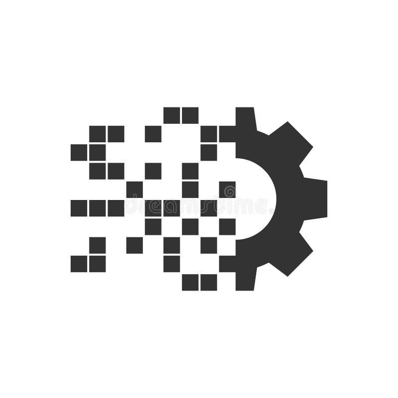 数字在平的样式的齿轮象 嵌齿轮在白色被隔绝的背景的传染媒介例证 Techno轮子企业概念 向量例证