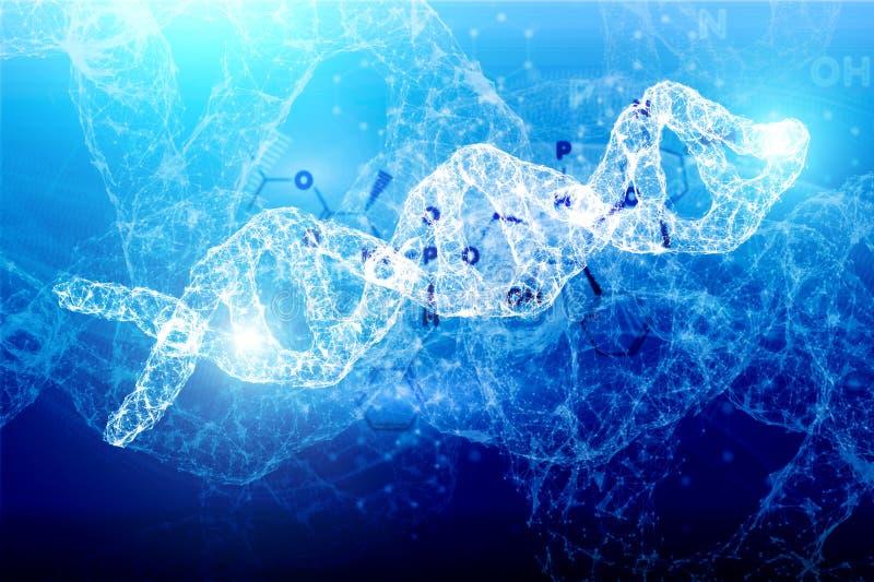 数字在漂浮在网络空间技术的抽象微粒的引起的真正脱氧核糖核酸序列 3d例证 向量例证