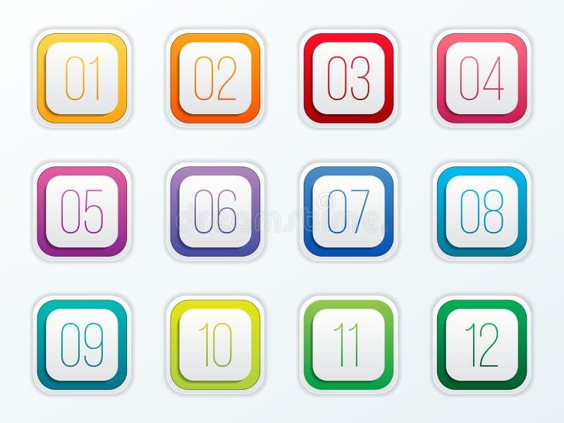 数字在透明背景设置了1到12隔绝的子弹点的创造性的传染媒介例证 艺术设计 平的颜色gradie 皇族释放例证