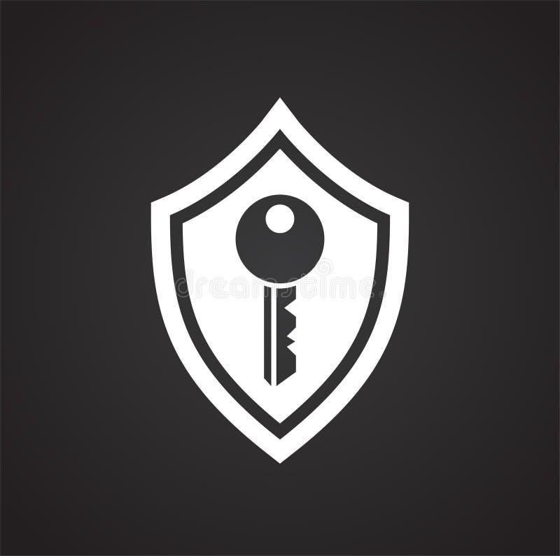 数字在黑背景的安全标志图表和网络设计的,现代简单的传染媒介标志 背景蓝色颜色概念互联网 时髦标志 向量例证