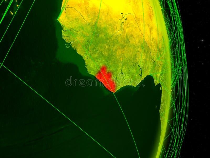 数字地球上的利比里亚 向量例证