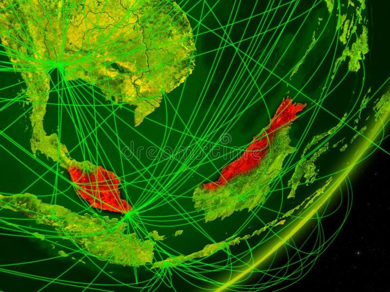 数字地球上的马来西亚 库存例证