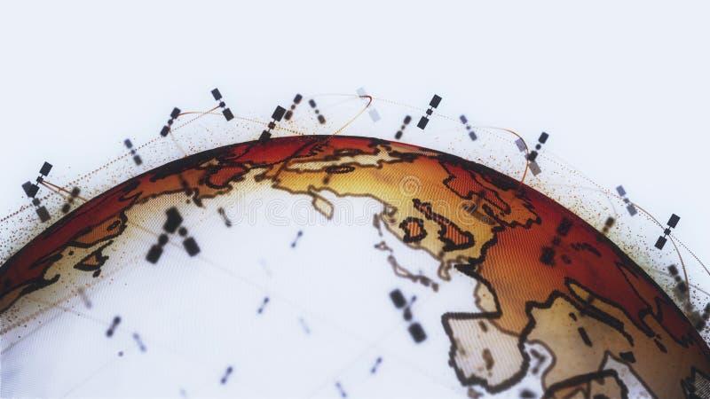 数字地球数据地球-回报卫星starlink录影网络连接的摘要3D世界 ?? 向量例证