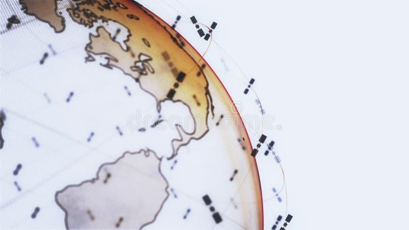 数字地球数据地球-回报卫星starlink录影网络连接的摘要3D世界 ?? 皇族释放例证