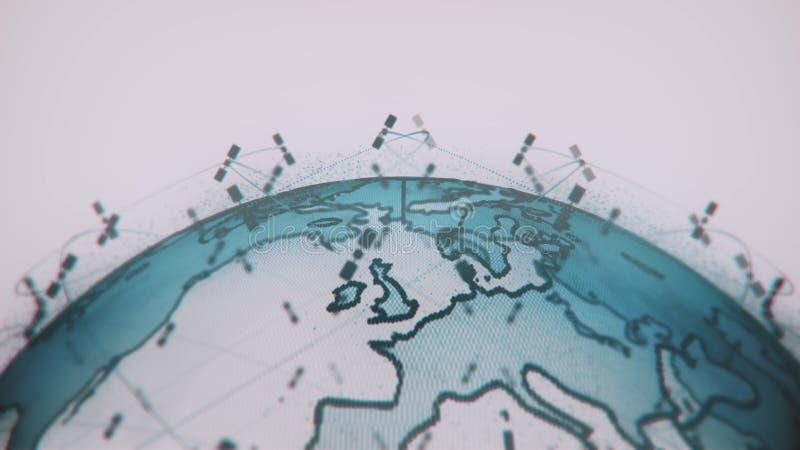 数字地球数据地球-回报卫星starlink录影网络连接的摘要3D世界 ?? 库存例证