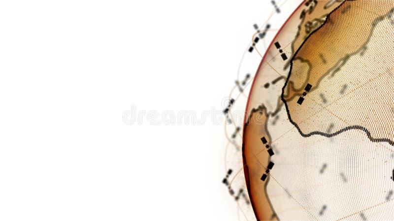 数字地球数据地球-回报卫星starlink网络连接的摘要3D世界 卫星创造 库存例证