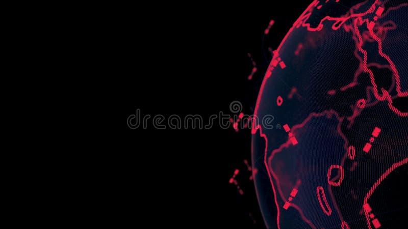 数字地球数据地球-回报卫星starlink网络连接的摘要3D世界 卫星创造 皇族释放例证