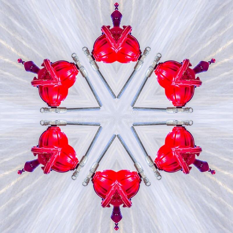 数字大红色六角形品牌从消防龙头 向量例证