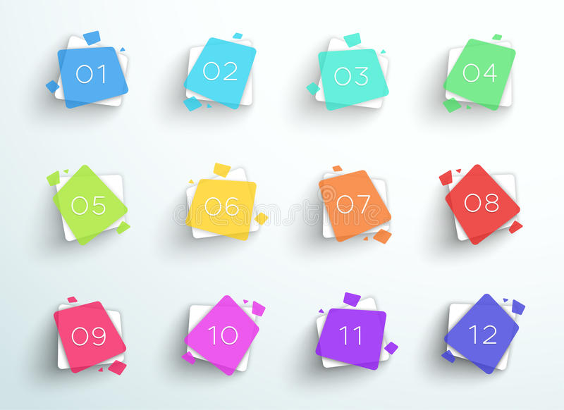 数字子弹点摘要五颜六色的正方形1到12传染媒介 库存例证