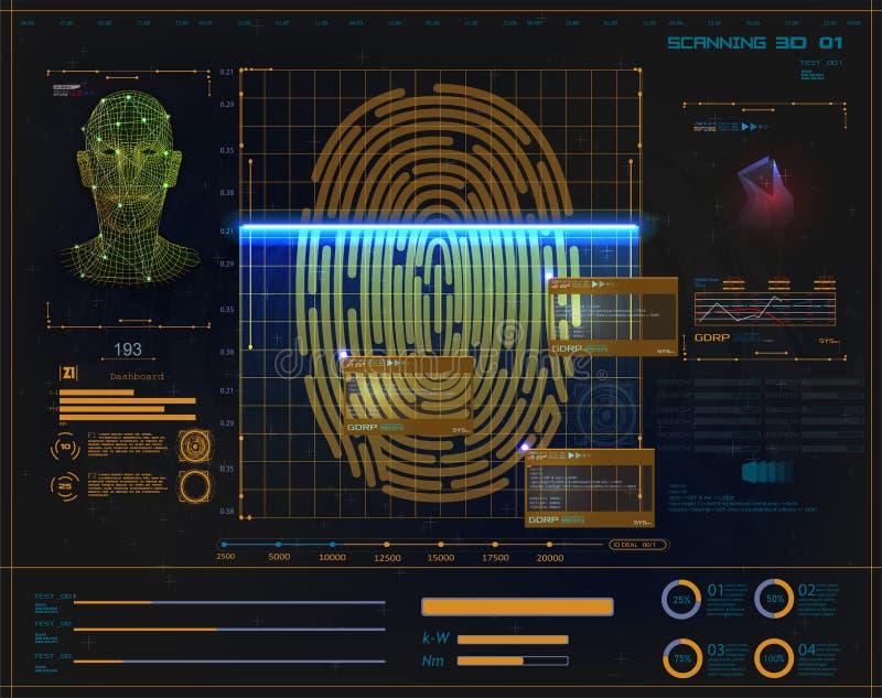 数字安全,电子指纹扫描 向量例证
