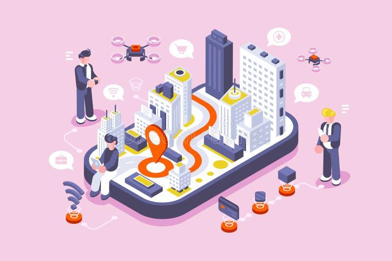 数字屏幕的聪明的城市 向量例证