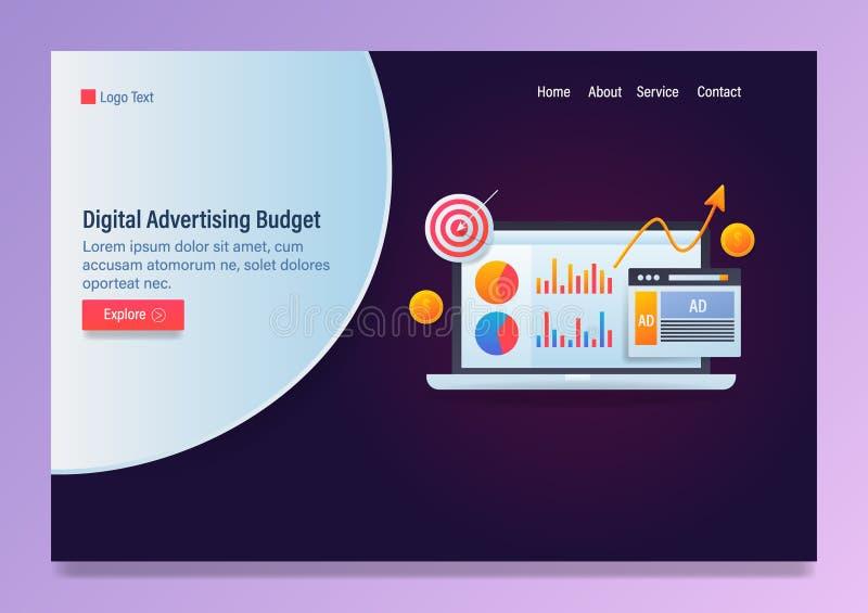 数字广告、广告预算、广告战逻辑分析方法概念、传染媒介网横幅模板与象和文本 库存例证