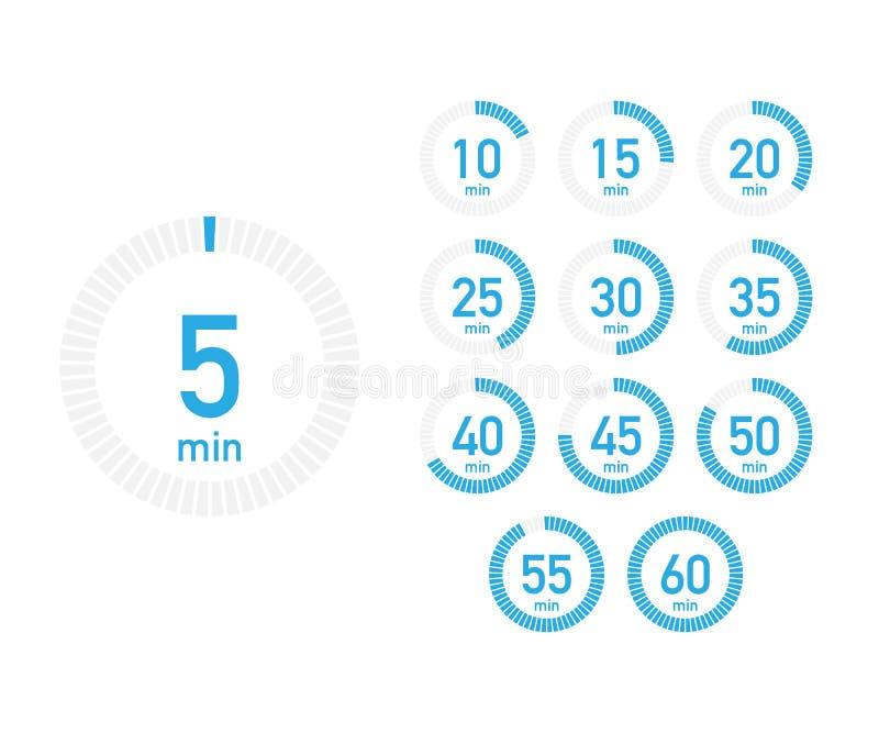 数字式与五分钟间隔时间的读秒定时器在现代样式 套12个定时器象 也corel凹道例证向量 向量例证