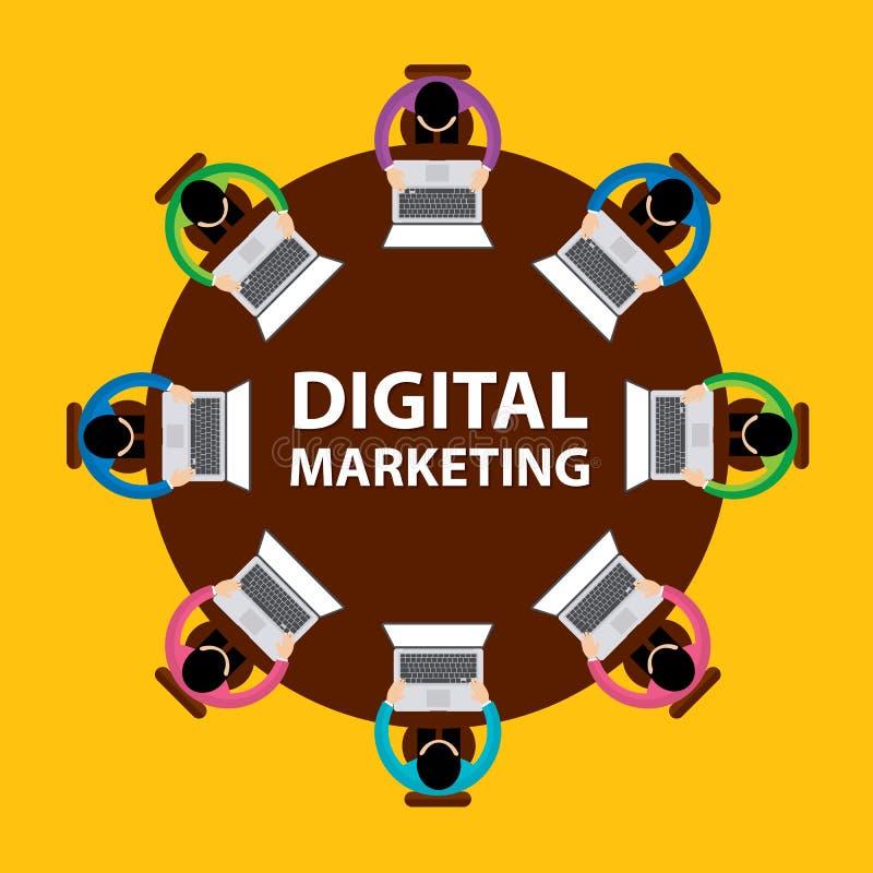 数字式与安装在桌和工作附近的商人的营销、配合和激发灵感概念 向量例证