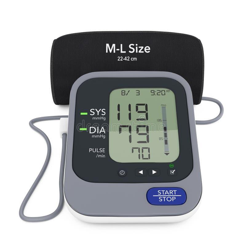 数字式与袖口的血压显示器 3d翻译 库存例证