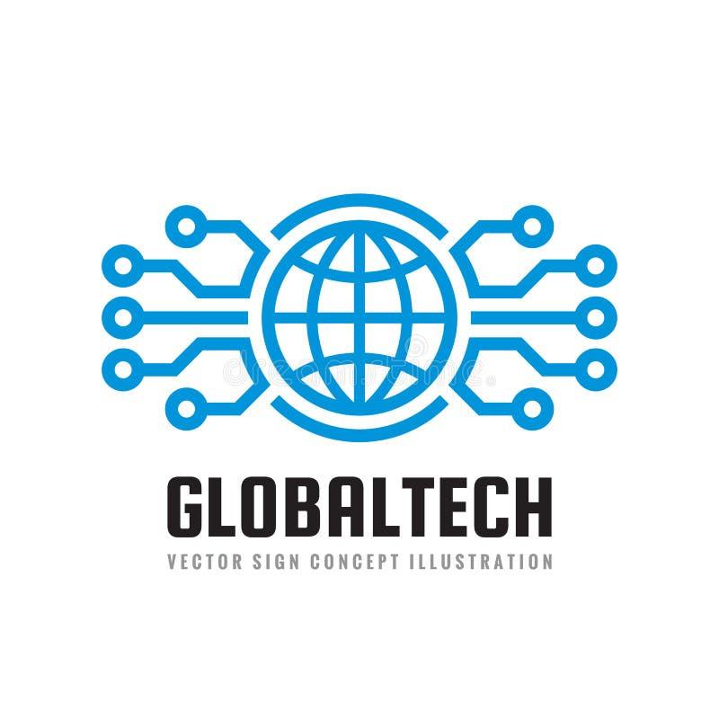 数字式世界-导航企业商标模板概念例证 地球抽象标志和电子网络 全球技术 向量例证
