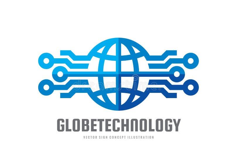 数字式世界-导航企业商标模板概念例证 地球抽象标志和电子网络 技术设计 向量例证