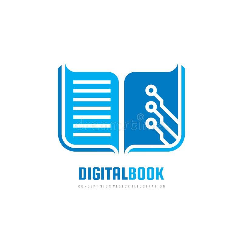 数字式书-导航商标模板概念例证 新的教育创造性的标志 现代学校抽象符号 图象 库存例证