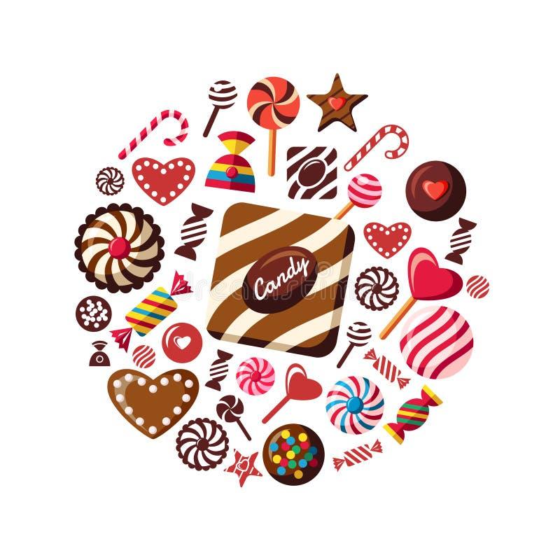 数字式传染媒介红褐色的甜点 库存例证