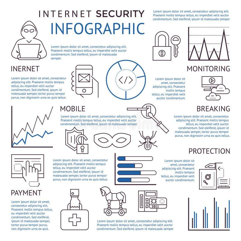 数字式传染媒介蓝色互联网安全 皇族释放例证