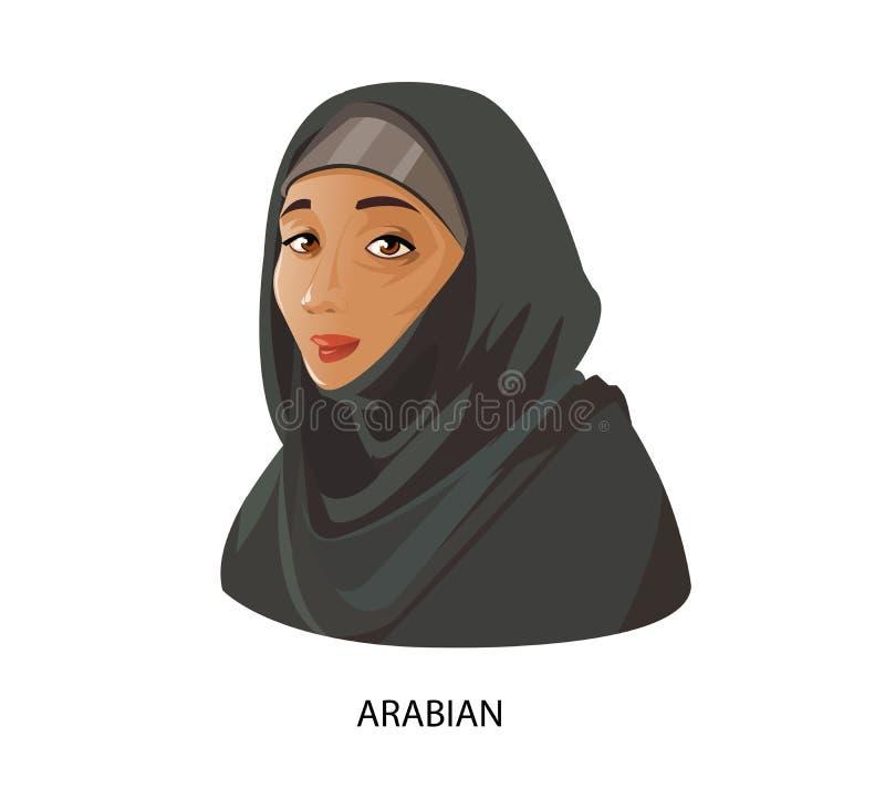 数字式传染媒介滑稽的动画片阿拉伯人妇女 皇族释放例证