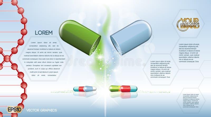 数字式传染媒介绿色和蓝色医学药片 向量例证