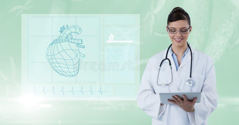 数字式使用数字式片剂的女性医生的引起的图象由图反对绿色背景 皇族释放例证