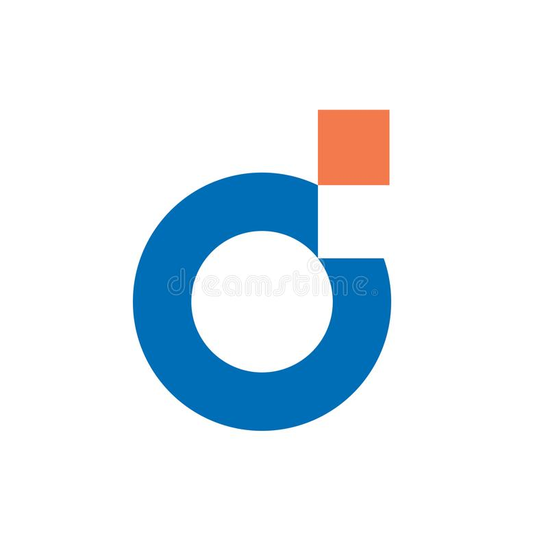 数字式信件D商标设计 向量例证