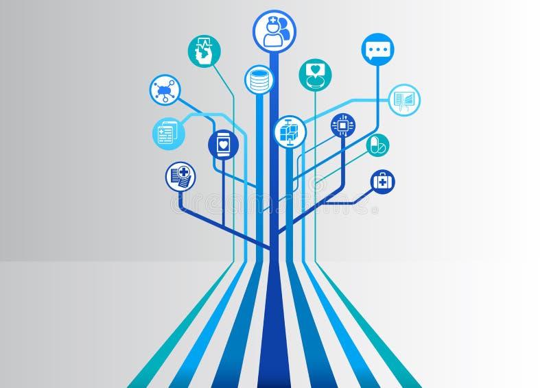 数字式健康和医院蓝色背景与分支入树结构的平行的线的如同说明 库存例证