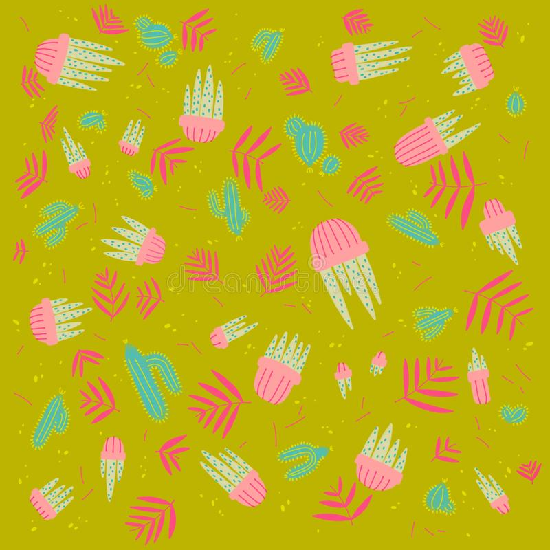 数字式刷子孟菲斯样式花饰 向量例证