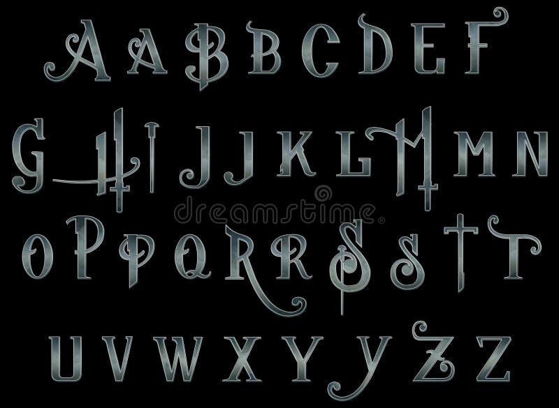 数字式剪贴薄字母表Steampunk背后出击 皇族释放例证