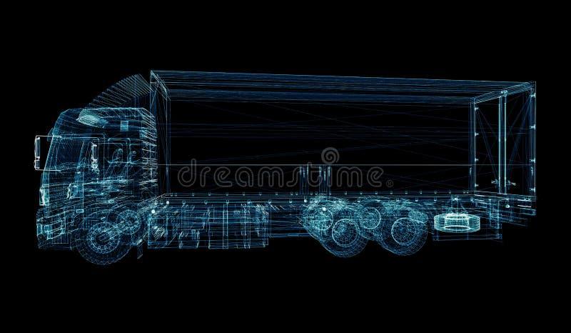 数字式卡车 数字技术的概念 向量例证