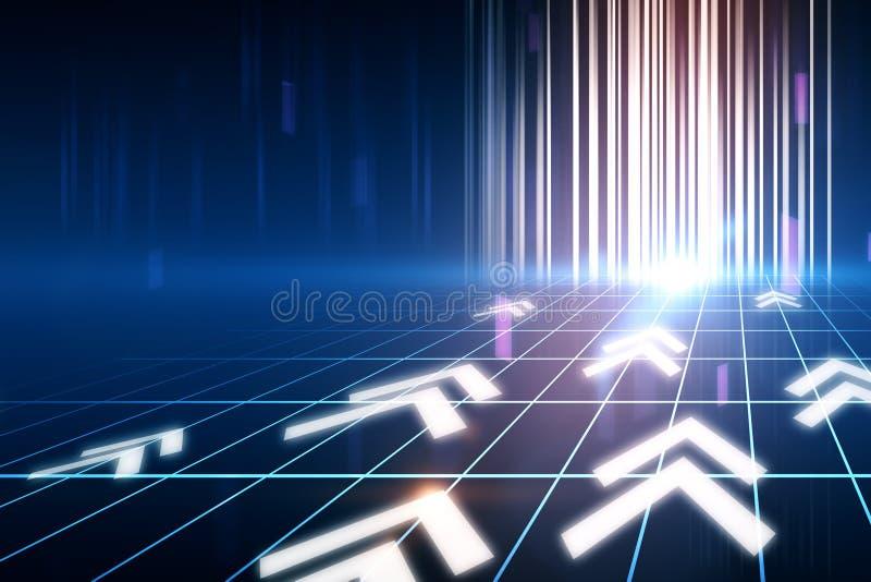 数字式发光的箭头 向量例证