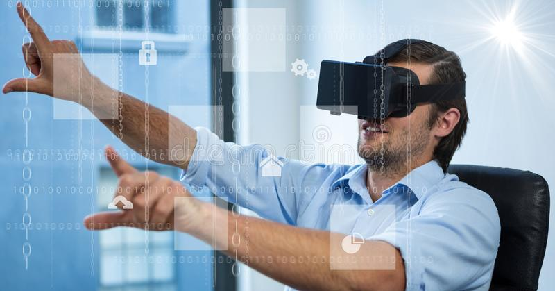 数字式各种各样的象的引起的图象与商人的使用VR玻璃在办公室 库存例证