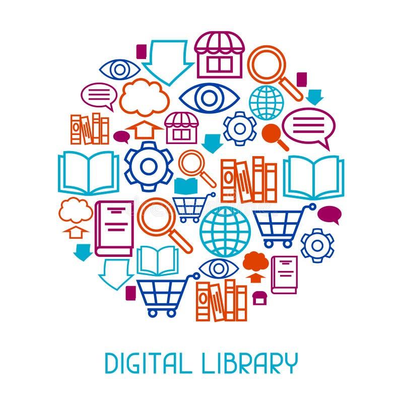 数字式图书馆概念背景 E书、读书和下载 库存例证