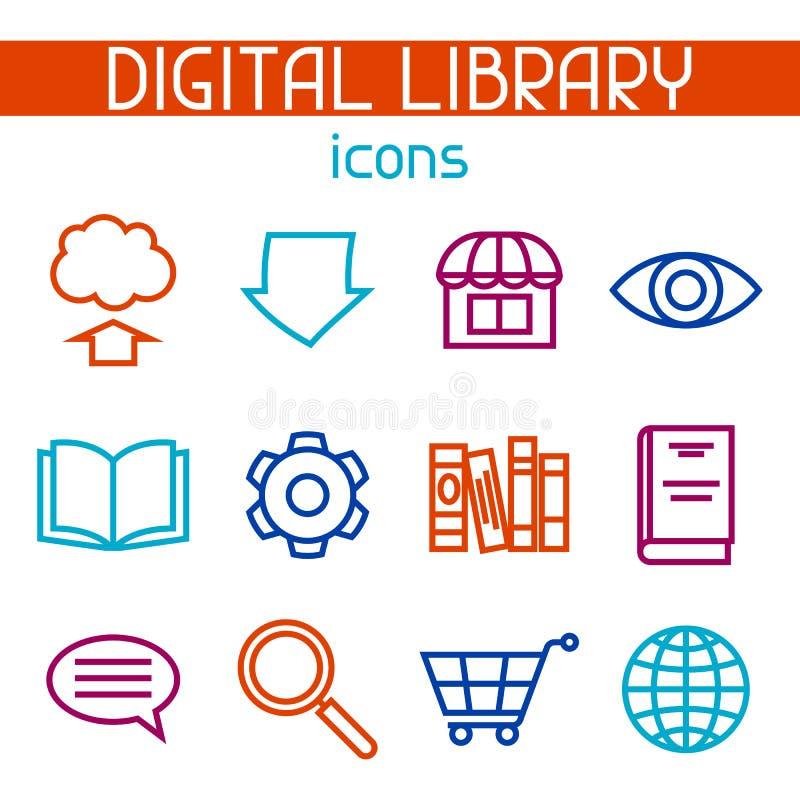数字式图书馆象集合 E书、读书和下载 库存例证