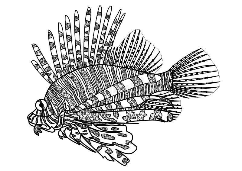 数字式图画zentangle彩图的,纹身花刺,衬衣设计狮子鱼 向量例证