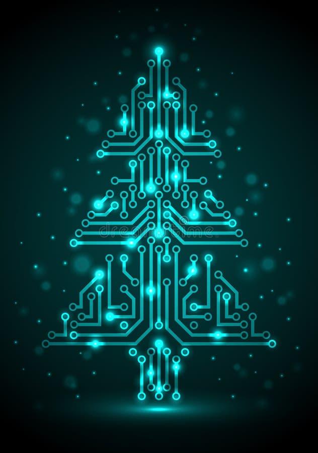 数字式圣诞树 库存例证