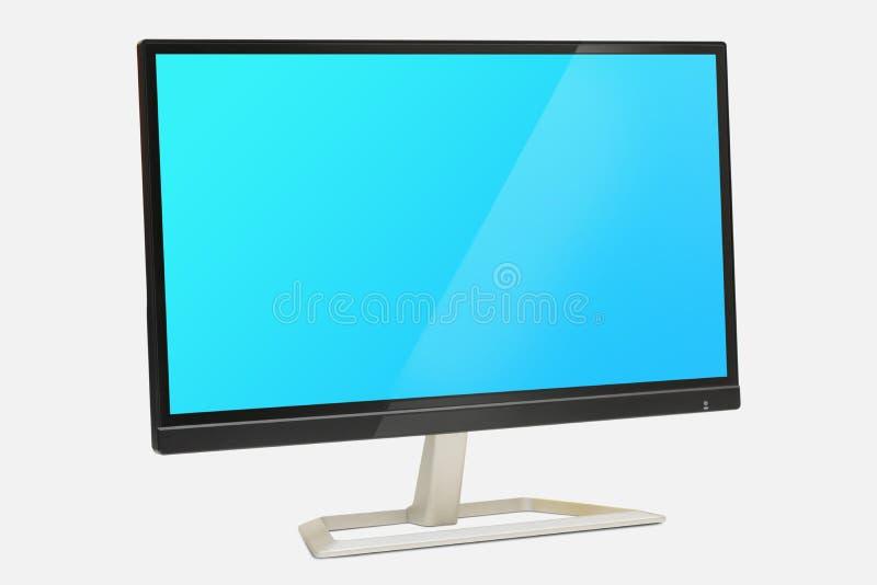 数字式在白色背景的显示器显示与蓝色屏幕 免版税库存照片