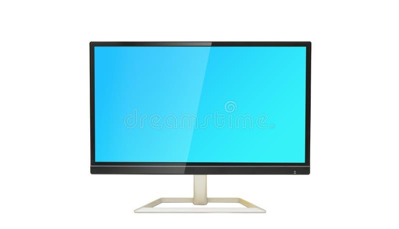 数字式在白色背景的显示器显示与蓝色屏幕 库存照片