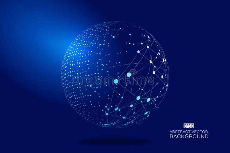 数字式地球和虚线链接发光的地球科学技术背景,蓝色技术作用传染媒介元素
