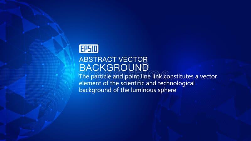 数字式地球,点线表面链接结合发光的地球科学技术背景、科学技术作用 皇族释放例证