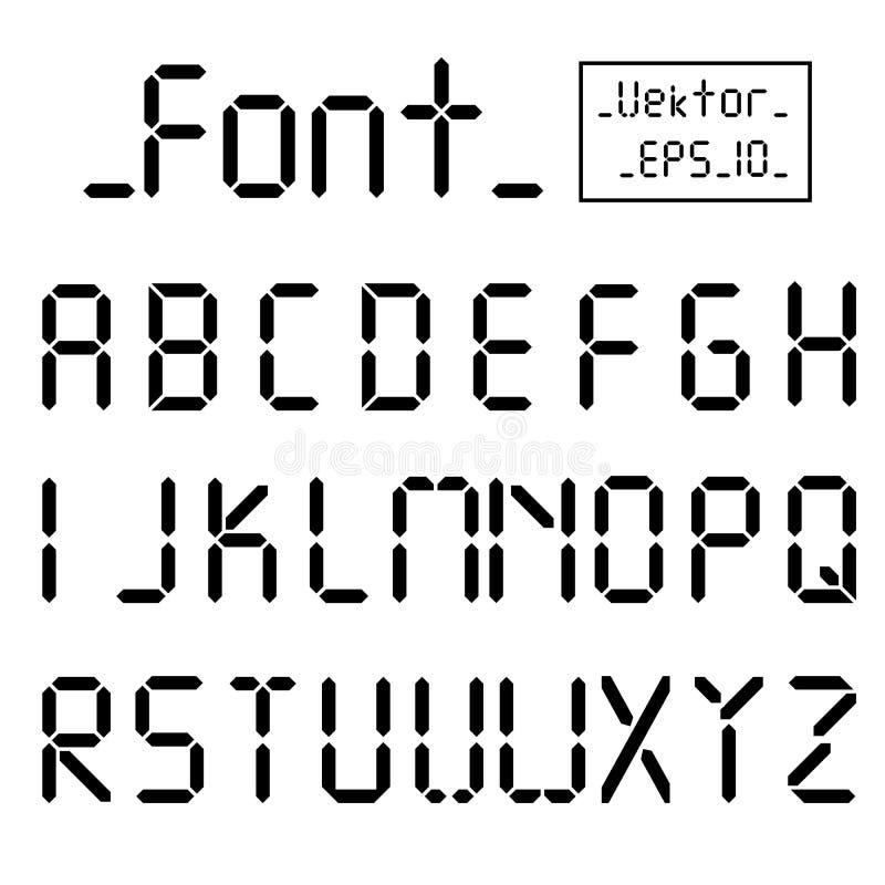 数字式字体 闹钟信件 数字和信件为一块数字手表和其他电子设备设置了 向量 库存例证