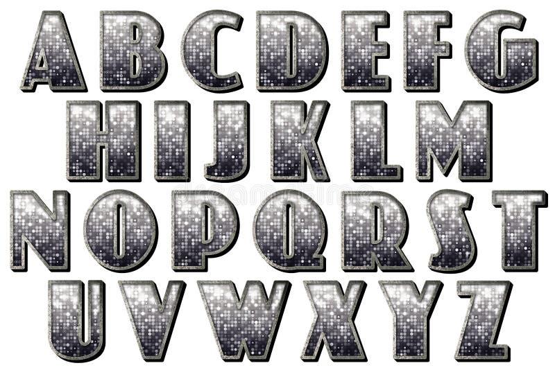 数字式字母表30s Capone样式Scrapbooking元素 皇族释放例证