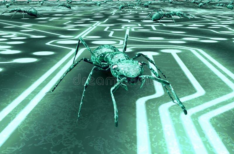 数字式安全概念计算机臭虫在电子环境里 皇族释放例证