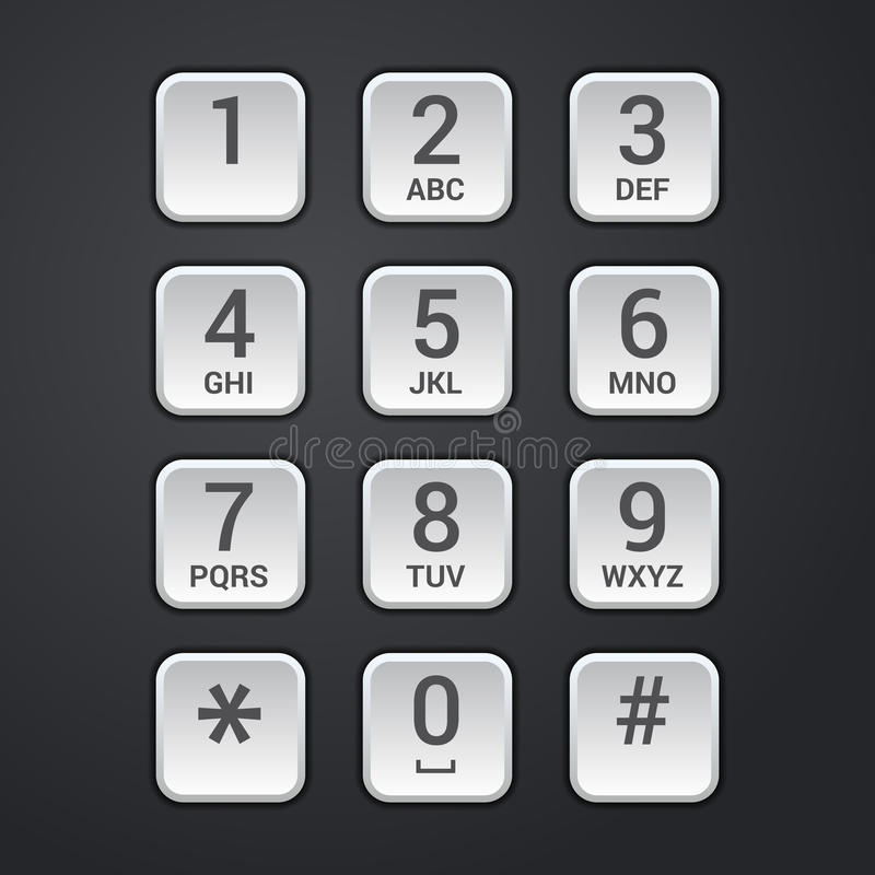数字式安全锁或电话键盘传染媒介拨号盘  库存例证